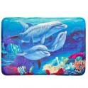 Коврик д/ванной 60*40 Дельфины флис ортопедическая пена 1.2см 462-594
