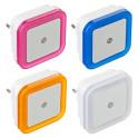 Ночник светодиодный пластик с датчиком освещения 4 цвета 417-044