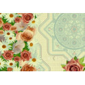 Клеенка на неткан.основе Декомир 31-1 135 см 20м/рул Кайма с розами бе