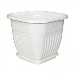Кашпо Лозанна 5л квадр.с поддоном белый М1618 В-5516